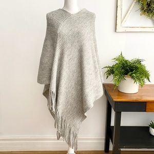 Do Everything in Love Gray Asymmetrical Poncho OS